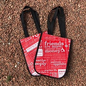 SET OF 2-Lululemon reusable snap tote bag.